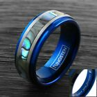 8mm Blue Men's Ring Tungsten Brushed Silver Abalone Band - Engravable
