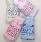 Personalised Luxury Embroidered Baby Blanket Birth Block Dimpled Fleece Backed