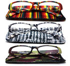 2 Pair Women Color Pattern Transparent Fashion Designer Reading Glasses Readers