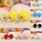 1 Pair Ear Stud Ball Shaped Resin Rhinestone Ear Earring Women Fashion Jewelry