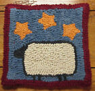 SHEEP WITH MUSTARD STARS  Primitive Rug Hooking Kit with cut wool strips