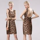 Sexy Women Leopard Backless Mini Evening Party Club Slim Fitted Dress New K0E1