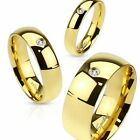 Men Yellow Gold Filled Cubic Zirconia Stainless Steel Ring Size 9 10 11 12 13