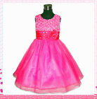 Kids Girl Christmas Party Hot Pink Flower Girls Dresses SIZE 1 2 3 4 5 6 7 8 10T