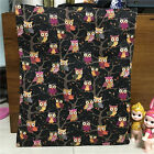 Polyester Canvas ECO Shopping Tote Shoulder Bag Print Owls Black & Blue 17119 S
