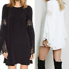 Fashion O-Neck Long Sleeve With Hollow Lace Mini Dress Beach Dress LAUS