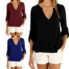 CHIC Fashion Women's Ladies Summer Loose Chiffon Tops Long Sleeve Shirt Blouse