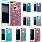 For iPhone Thin Case Shiny Rock Glitter Bling Sparkling + Screen Tempered Glass