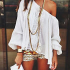 CHIC Summer Lace Off Shoulder Boho Long Sleeve Tops Casual Loose T-shirt Blouse