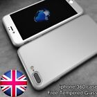 360° Full Body Shockproof Hard Slim Case Cover W/Tempered Glass For iPhone 5 6 7