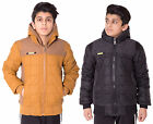 Boys Kids Front Badge Double Zip  Padded Quilted Jacket Hood E6