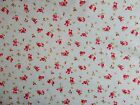 Pink rose on blue fabric 100% cotton available in fat quarter half metre & metre