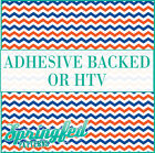 Orange, Blue & White Chevron Pattern #1 Adhesive Vinyl or HTV for Crafts Shirts