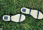 TORY BURCH Two Band Flat Espadrille Sandals Genuine Navy Leather 7 / 9 Shoes NIB