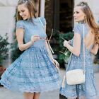 Alice Olivia MAUREEN Cap Sleeve Floral Lace PARTY DRESS light blue 0-8 $485 new