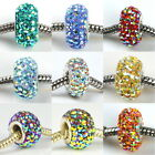 SOLID AB CRYSTAL 925 STERLING SILVER CORE CHARMS BEAD FIT EUROPEAN DIY BRACELET