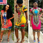 Women Traditional African Print Dashiki Dress Short Sleeve Party Shirt Plus Size