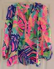 New Lilly Pulitzer ELSA TOP Silk Blouse S / M / L Multi Exotic Garden Floral NWT