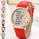New Women Man Expression Emoji Faux Leather Band Analog Quartz Casual Watch TB