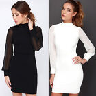 Fashion Women Bodycon Long Sleeve Backless Evening Party Cocktail Short Dress