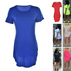 Women's Short Sleeve Casual Summer Long Tunic Top T-shirt Blouse Dress LAUS