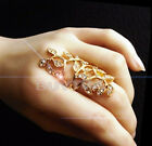 Hot Fashion Women's Plated Crystal  Leaf Above Knuckle Finger Ring Set TB