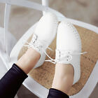 Fashion Womens cute round toe flats lace up leisure preppy shoes casual walking
