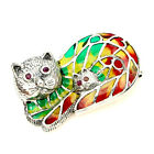 Adorable Round Cut Top Rich Red Pink Ruby 925 Sterling Silver Enamel Cat Brooch