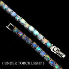 Fantastic Natural Hot Rainbow Luster Fire Opal 925 Sterling Silver Bracelet