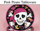 Pink Pirate Party Tableware - Plates, Napkins, Cups & Tablecover