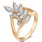 White Crystal Love wings exquisite zircon Ring Ring Size 6/7/8/9 Hollow 18K GP