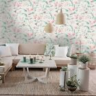 Holden Decor Jasmine Cream Coral Floral Glittery Wallpaper 98840