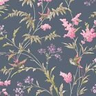 Holden Decor Jasmine Navy Pink Floral Glittery Wallpaper 98842
