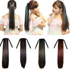 Women Cosplay Long Straight Colorful Ombre Drawstring Ponytail Hair Extensions