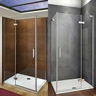 Aica Walk in Hinge Shower Door Enclosure 1950mm NANO Glass Screen Cubicle Tray