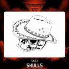 Airbrush stencil template Cowboy  SKULL 63 - 4 SIZES AVAILABLE MINI MID XL XXL