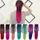 Fashion Women Cosplay Long Straight Ombre Drawstring Ponytail Hair Extensions