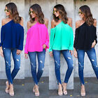 Fashion Women Off Shoulder Long Sleeve Tops Blouse Shirt Casual Chiffon T-Shirt