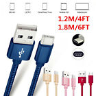 4/6FT Braided USB C 3.1 Type-C Data Sync Charger Quick Cable For Android Phones