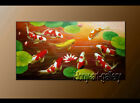 HUGE MODERN ABSTRACT OIL PAINTING Feng Shui Fish Koi Canvas wall Art Decor ol161