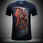 2017 new 3 D printing red dragon - Men's short sleeve cotton T-shirt