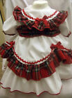 DREAM GIRLS SALE WHITE RED TARTAN  ROMANY NETTED DRESS 0-3 6-12 MONTHS 2-3 YEARS