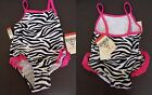 Osh Kosh B'Gosh Baby Girl Swim Suit One- Piece Zebra Print Pink Ruffle New 12M