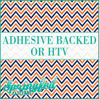 Orange, Navy Blue & White Chevron Pattern #4 Adhesive Vinyl or HTV for Shirts