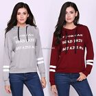 Women Fashion Casual Long Sleeve Drop Shoulder Letter Print Hooded N4U8