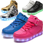 Children LED Light Up Trainer Sneakers Boys Girls High Top Luminous Casual Shoes