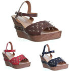 11957 Womens High Wedge Platform Open Toe Ankle Strap Buckle Ladies Fashion Sand