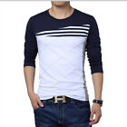 Men's Long Sleeve Stitching Casual T-shirt Crew Neck Stripes Tees Shirt Tops