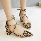 Stylish Womens New Pointy Toe Leopard Cross Strappy Mid Heel Sandals Party Shoes