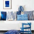 Blue Vine Leaves Dots Fish Decor Pillow Case Cushion Cover Square Oblong Linen